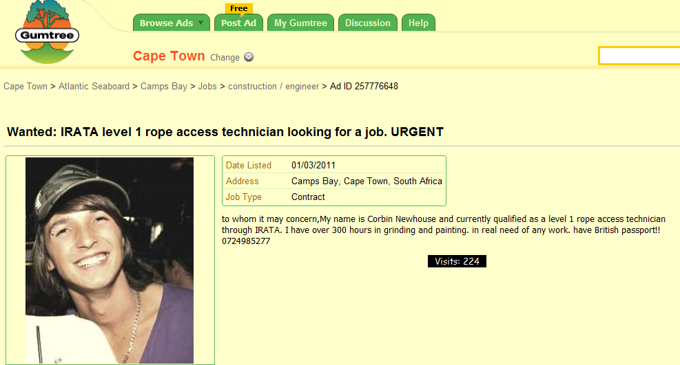 Gumtree - My Mate Corbs Needs Your Help Finding Work  - Mr  Cape Town